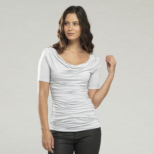 Long Ruched Cowl Top - tops & t-shirts