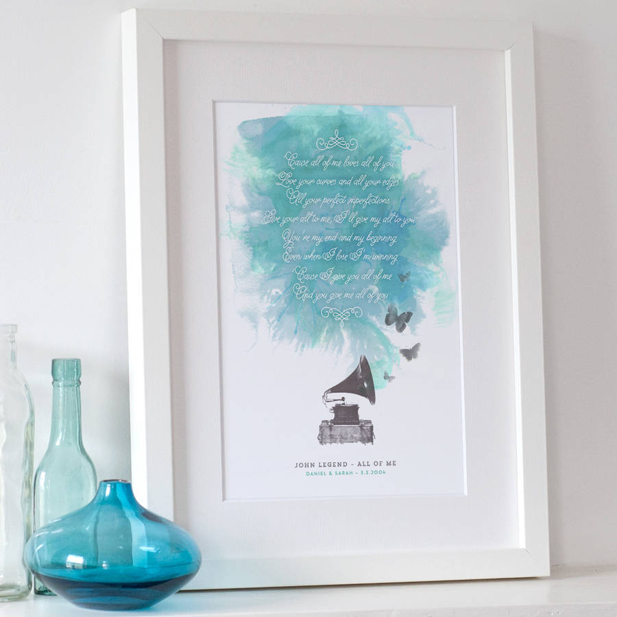 personalised song lyrics print by the drifting bear co ...