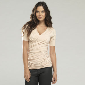 Long Ruched Faux Wrap Top - tops & t-shirts
