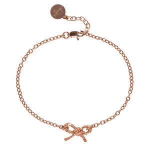 Love And Joy Twine Bow Bracelet In Rose Gold - bracelets & bangles
