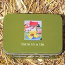 Wooden Farm Playset In A Tin