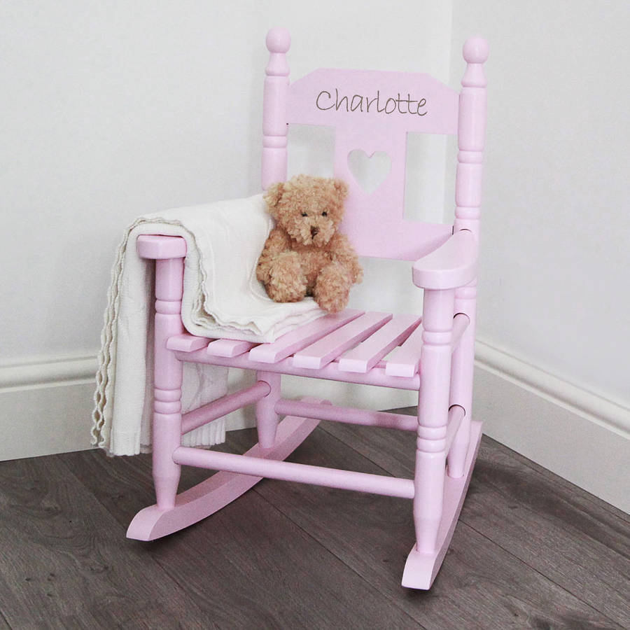 Pink Personalised Childu0027s Rocking Chair