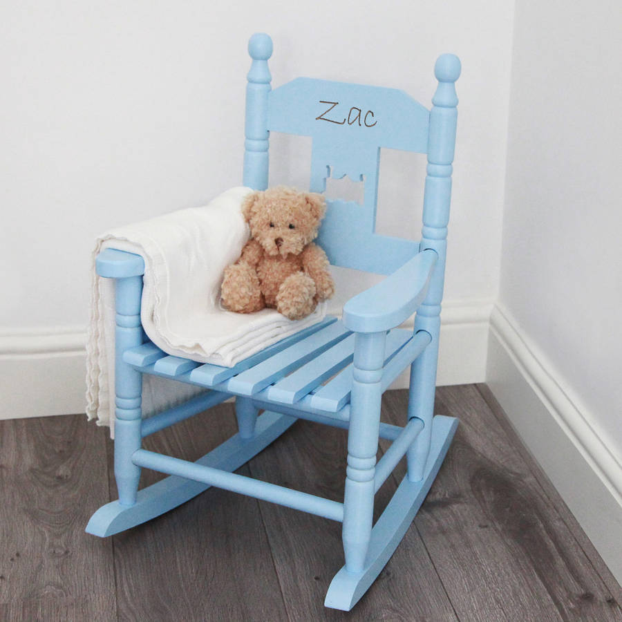 Blue Personalised Child S Rocking Chair