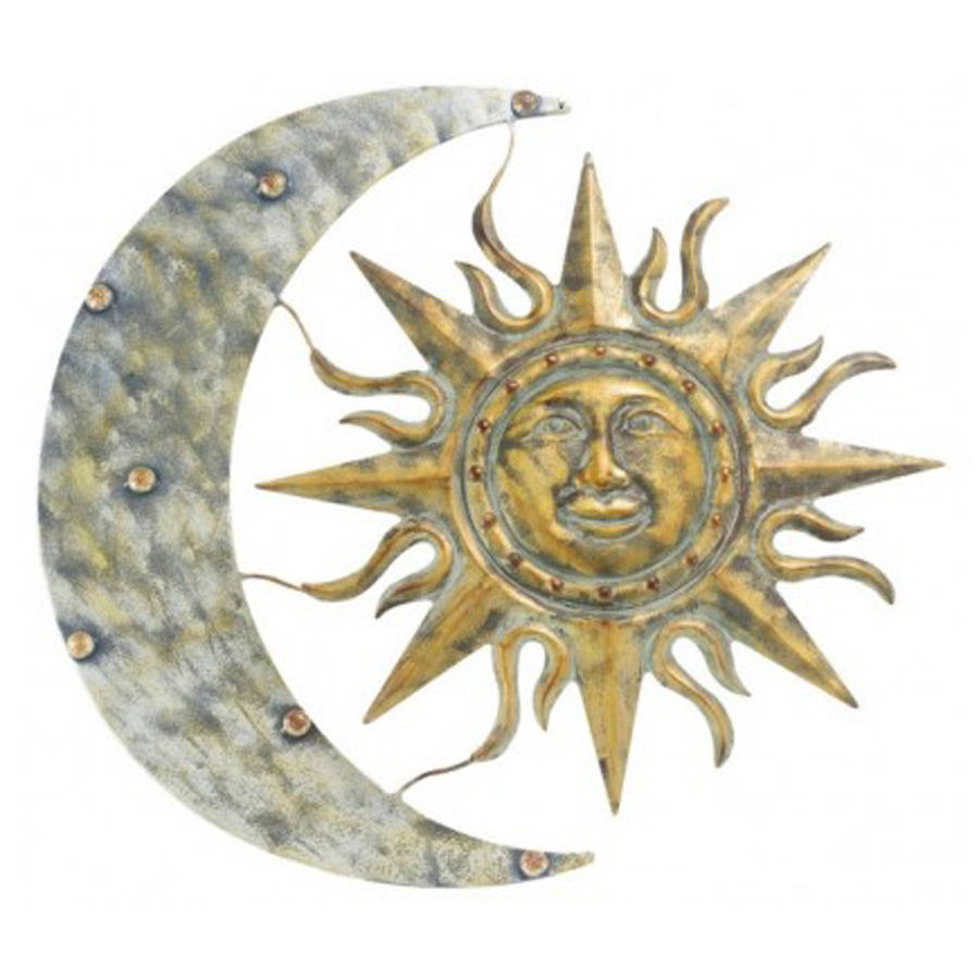 Outdoor Metal Wall Art Decor And Sculptures : Aztec sun and moon metal garden wall art sculpture by