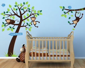 Monkey Tree And Branch Vine Wall Stickers - children's room accessories