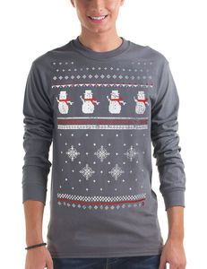 Mens Christmas Snowman Long Sleeved Top