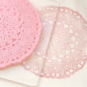 Very Large Doily Hand Carved Rubber Stamp