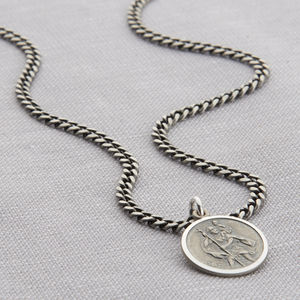 Personalised Silver St Christopher Curb Necklace - personalised