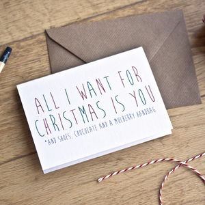 'All I Want' Personalised Christmas Card - cards & wrap