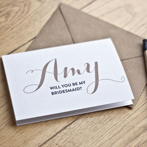 Personalised 'Will You Be My Bridesmaid' Card - invitations