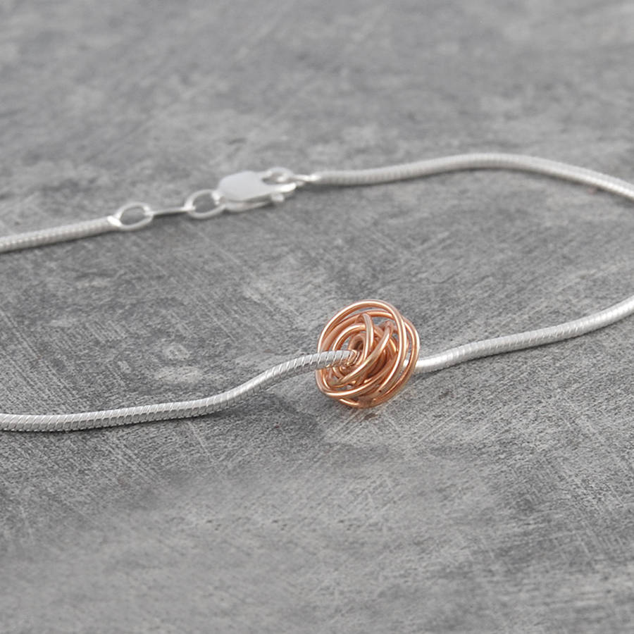 ball charm rose gold wire wrapped bracelet by otis jaxon silver ...