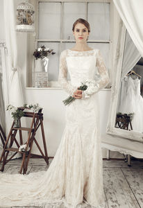 Beige Long Sleeve Wedding Dress