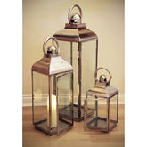 Stainless Steel Lantern Set Of Three - garden
