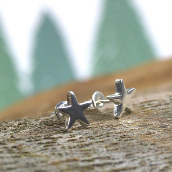 Sterling Silver Small Star Stud Earrings