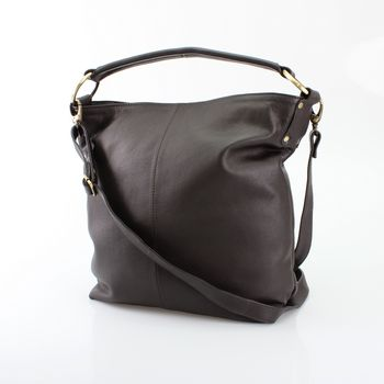 Brown Leather Hobo Handbag Tote