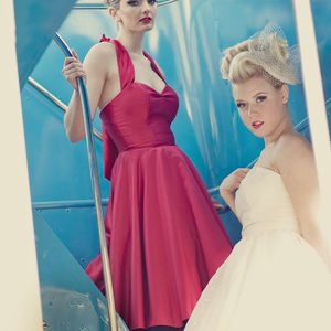 Ruby Satin Halter Neck 1950's Style Dress - bridesmaid fashion