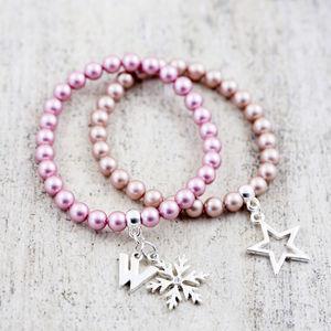 Pearl Stretch Bracelet Made With Swarovski Crystals - something blue