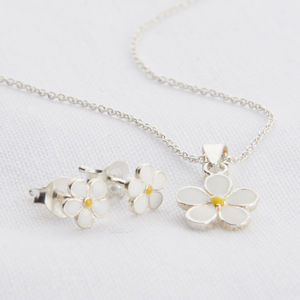 Girl's Sterling Silver And Enamel Daisy Necklace Set - earrings