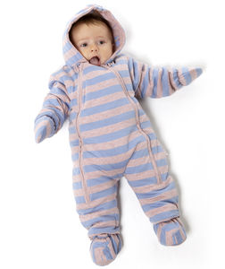 Blue And Lilac Marl Striped Pramsuit - clothing