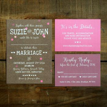 Whimsical Calligraphy Wedding Invitation