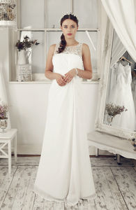Ivory Chiffon Embroidered Sheath Wedding Dress - dresses