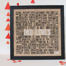 Personalised 'Loves' Hessian Artwork
