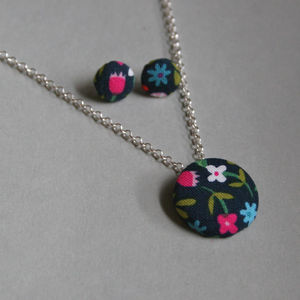 Folk Flowers Earrings And Necklace - earrings