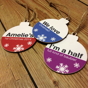Personalised Christmas Tree Bauble Decoration Set