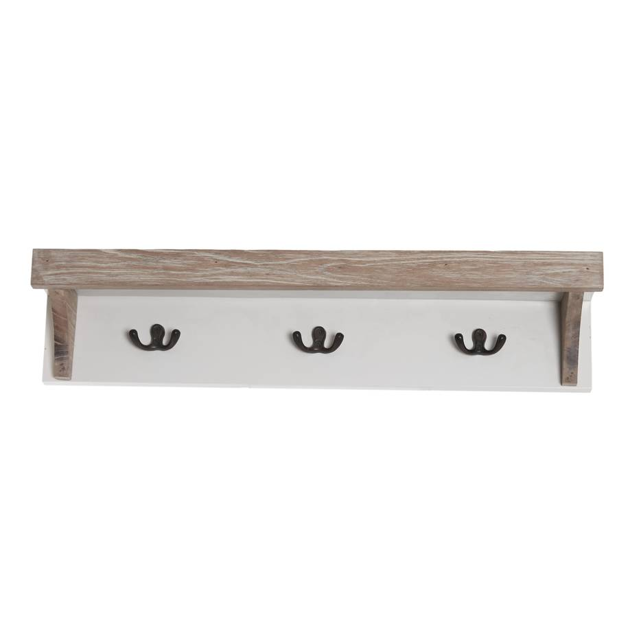 Cream Wooden Coat Hook Shelf