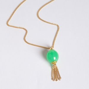 Extra Long Green And Gold Tassel Necklace