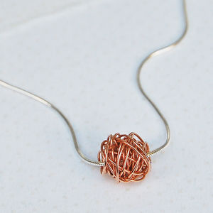 Silver And 14ct Rose Gold Filled Wire Wrapped Necklace
