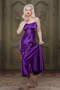 Heather Purple 100% Silk 'Bettie' Nightgown - loungewear