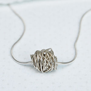 Sterling Silver 'Entwined' Wire Wrapped Bead Necklace