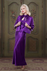 Heather Purple 100% Silk 'Bettie' Bed Jacket - lingerie & nightwear