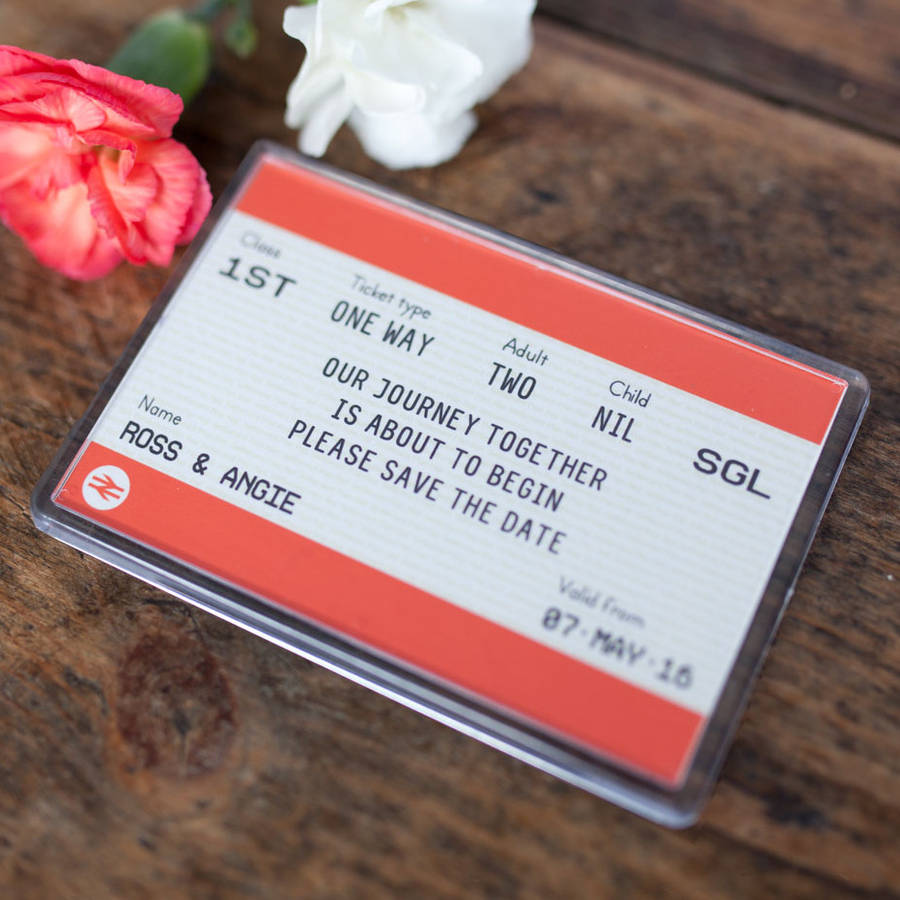 not on the high street winter wedding invitations%0A Train Ticket Save The Date Magnet