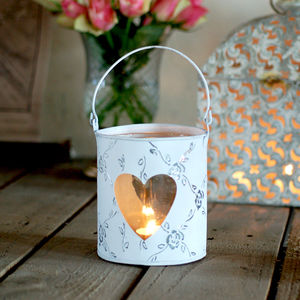 Heart Detailed Tea Light Candle Holder Lantern - votives & tea lights