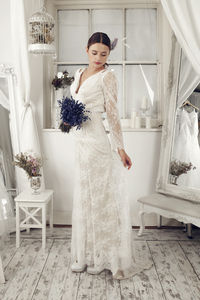 Long Lace Sleeved Wedding Dress - wedding dresses