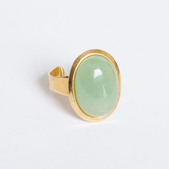 Green And Gold Adjustable Cocktail Ring