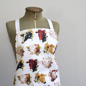 Cows And Flowers Apron - kitchen