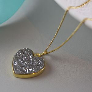 Heart Pendant In Gold With Druzy - women's jewellery