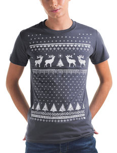 Mens Reindeer T Shirt In A Christmas Jumper Style - christmas jumpers
