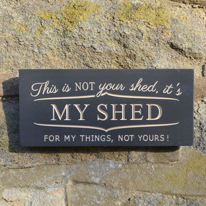 Fun Engraved Wooden My Shed Sign - art & decorations