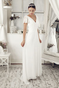 Floor Length V Neck Wedding Dress - wedding fashion