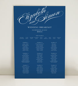 Victoria Script Wedding Table Seating Plan - table plans