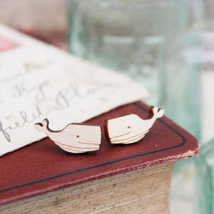 Wooden Whale Stud Earrings - earrings