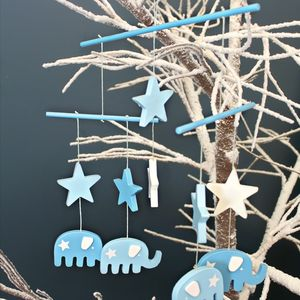 Blue Wooden Elephant And Stars Mobile - mobiles