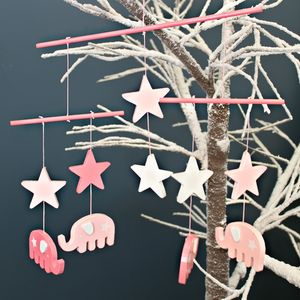 Pink Wooden Elephant And Stars Mobile - children's room accessories