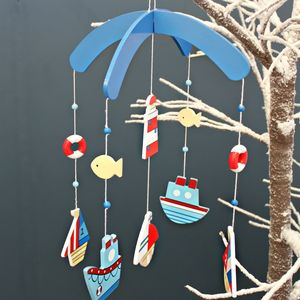 Wooden Nautical Boat Mobile - children's room accessories