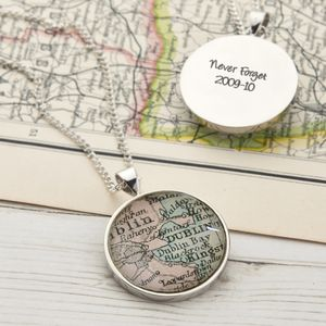 Map Personalised Sterling Silver Pendant Circle - personalised