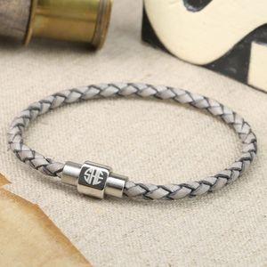 Men's Engraved Monogram Leather Bracelet In Grey - bracelets